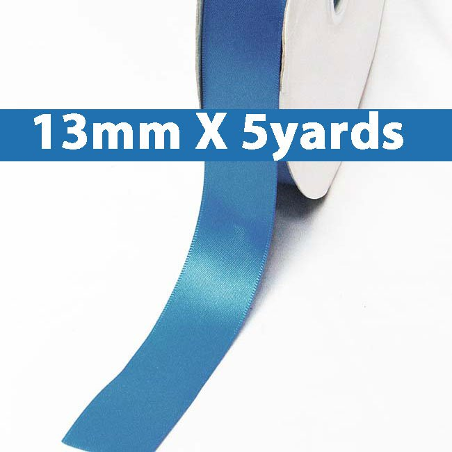 """# 373 dress blue Color 13mm/0.5"""" Wide 5 Yards Double Faced Satin Ribbon (#28800 X5 Yards)"""