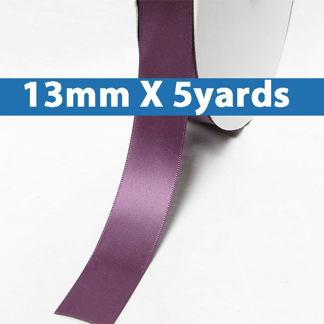 """# 473 amethyst Color 13mm/0.5"""" Wide 5 Yards Double Faced Satin Ribbon (#28800 X5 Yards)"""