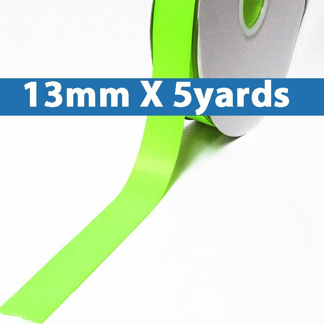 """# 544 key lime Color 13mm/0.5"""" Wide 5 Yards Double Faced Satin Ribbon (#28800 X5 Yards)"""