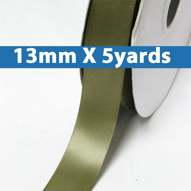 """# 570 moss Color 13mm/0.5"""" Wide 5 Yards Double Faced Satin Ribbon (#28800 X5 Yards)"""