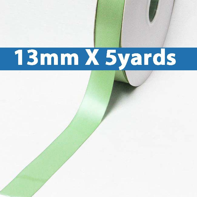 "# 577 sage green Color 13mm/0.5"" Wide 5 Yards Double Faced Satin Ribbon (#28800 X5 Yards)"