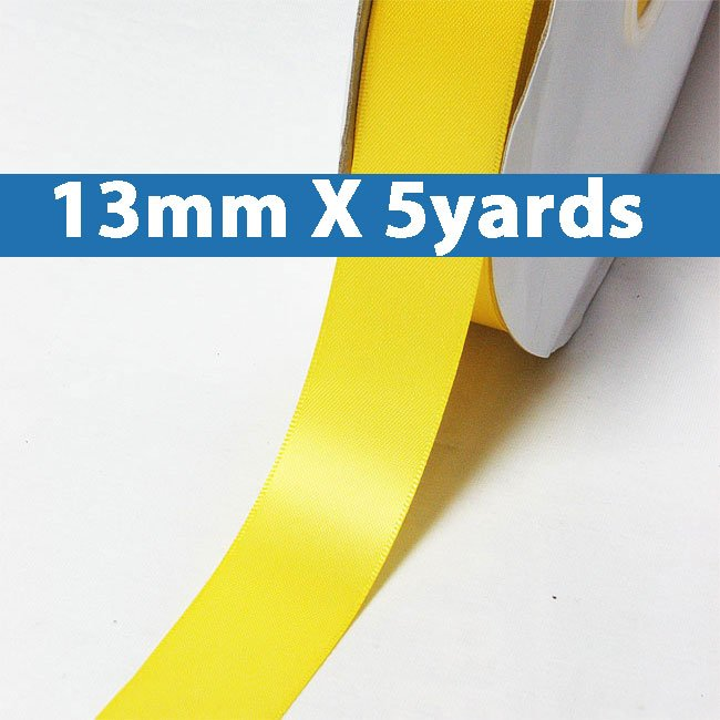 """# 645 daffodil Color 13mm/0.5"""" Wide 5 Yards Double Faced Satin Ribbon (#28800 X5 Yards)"""