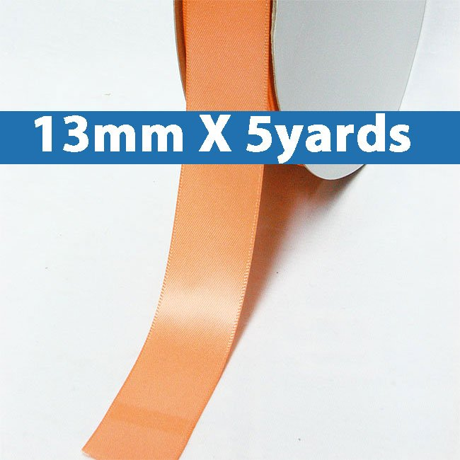 """# 720 peach Color 13mm/0.5"""" Wide 5 Yards Double Faced Satin Ribbon (#28800 X5 Yards)"""