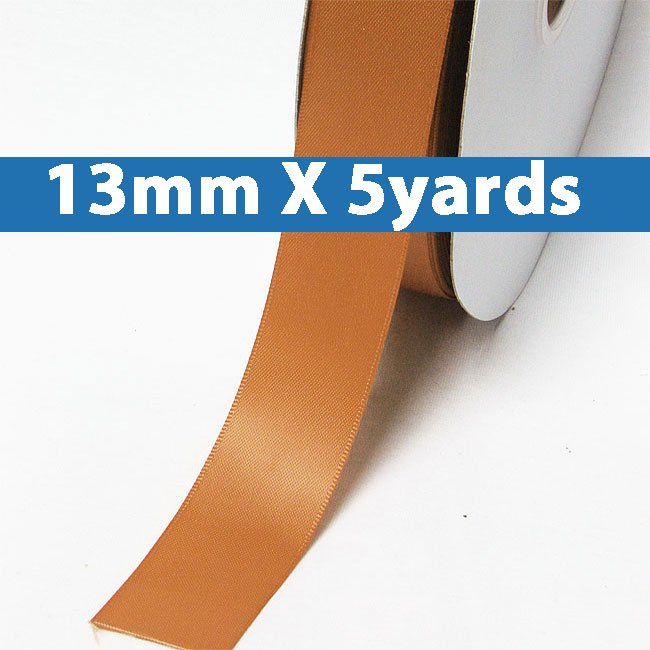 """# 743 ginger Color 13mm/0.5"""" Wide 5 Yards Double Faced Satin Ribbon (#28800 X5 Yards)"""