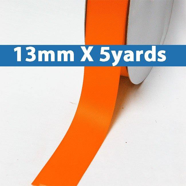 "# 750 torrid orange Color 13mm/0.5"" Wide 5 Yards Double Faced Satin Ribbon (#28800 X5 Yards)"
