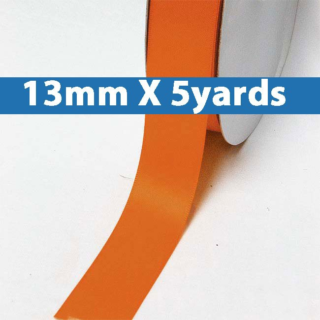 "# 761 autumn orange Color 13mm/0.5"" Wide 5 Yards Double Faced Satin Ribbon (#28800 X5 Yards)"