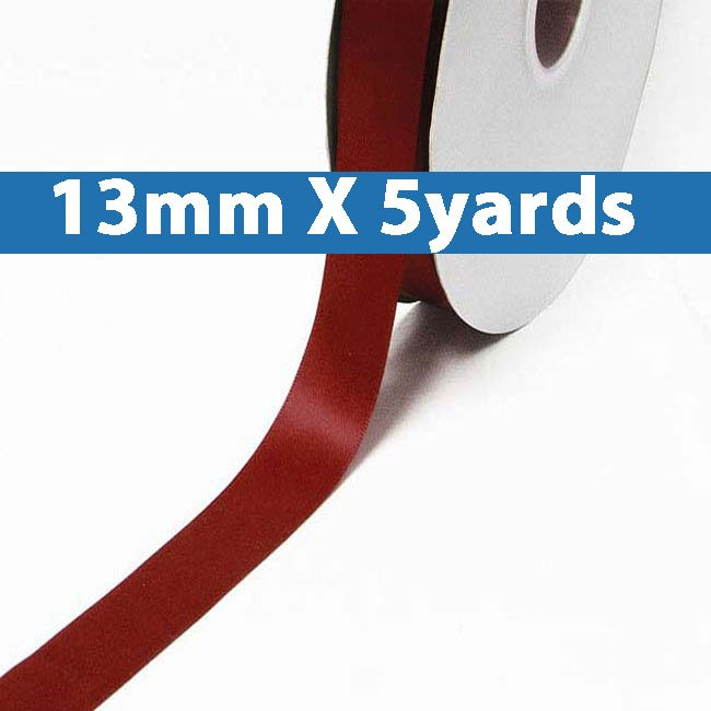 "# 789 sherry Color 13mm/0.5"" Wide 5 Yards Double Faced Satin Ribbon (#28800 X5 Yards)"
