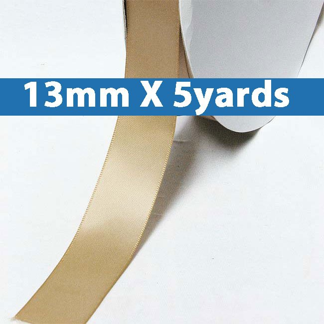 "# 837 latte Color 13mm/0.5"" Wide 5 Yards Double Faced Satin Ribbon (#28800 X5 Yards)"