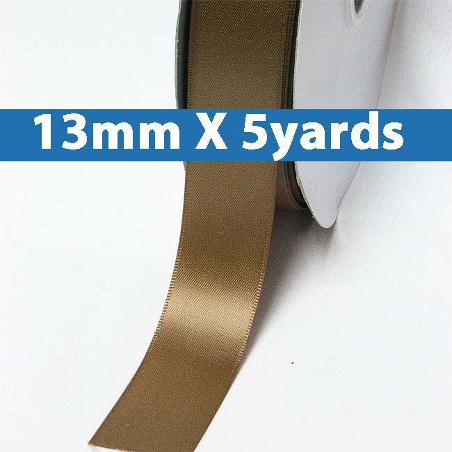 "# 846 golden brown Color 13mm/0.5"" Wide 5 Yards Double Faced Satin Ribbon (#28800 X5 Yards)"