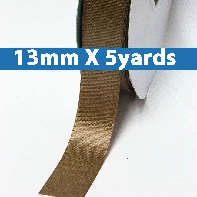 "# 847 turftan Color 13mm/0.5"" Wide 5 Yards Double Faced Satin Ribbon (#28800 X5 Yards)"