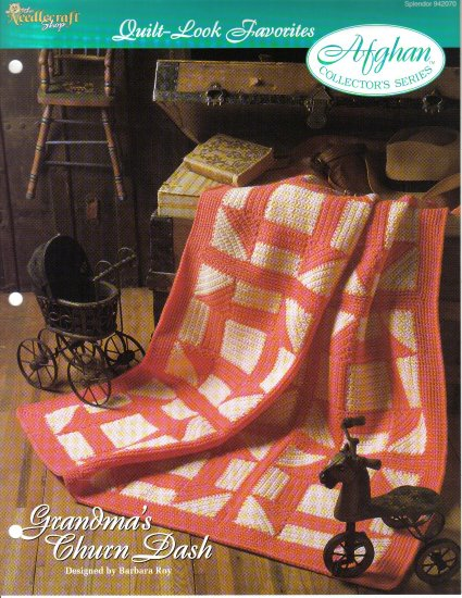 Needlecraft Shop~Afghan Collector's Series~ Grandma's Churn Dash~ Free Shipping