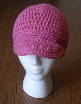 Women's Beanie Hat With Brim~ Pink~ Free Shipping