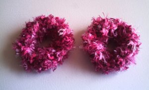 Pigtail Hair Scrunchie Scrunchies Pair~ Pink Powder~ Free Shipping