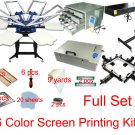 Fast Free shipping full set 6 color screen printing kit t-shirt printer flash expsoure stretcher