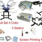 Fast Free shipping Full Set 4 color screen printing t-shirt printer kit