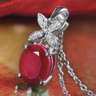 Reverie 3 Carat Genuine Ruby Pendant with Lab Created Diamonds NEW Great Gift!