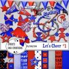 Let's Cheer #1 Red & Blue Digital Scrapbooking Kit