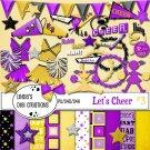 Let's Cheer #3 Purple & Mustard Yellow Digital Scrapbooking Kit