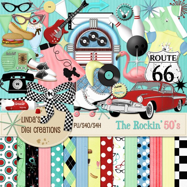 The Rockin' 50's (Digital Scrapbooking Kit)
