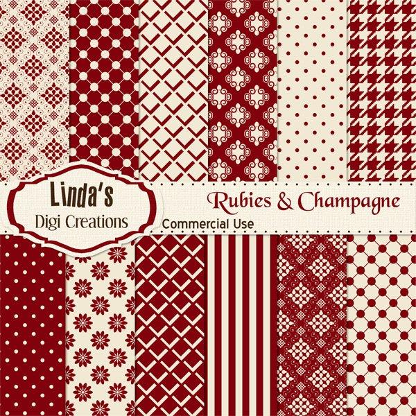 Rubies & Champagne (Digital Paper Pack)