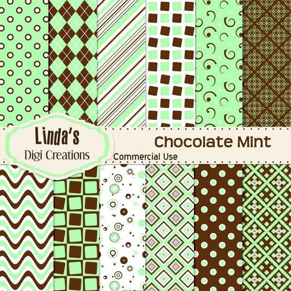 Chocolate Mint (Digital Paper Pack)
