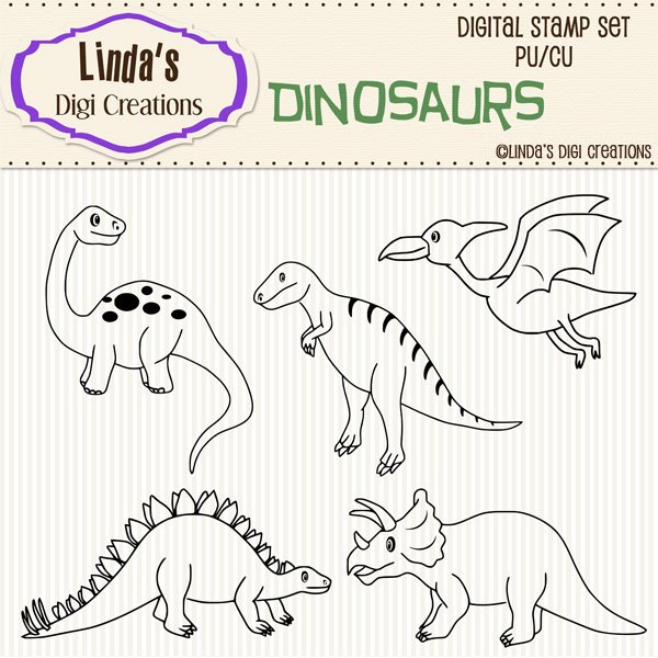 Dinosaurs (Digi Stamp Set)