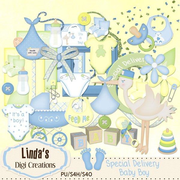 Special Delivery Baby Boy (Digital Scrap Kit)