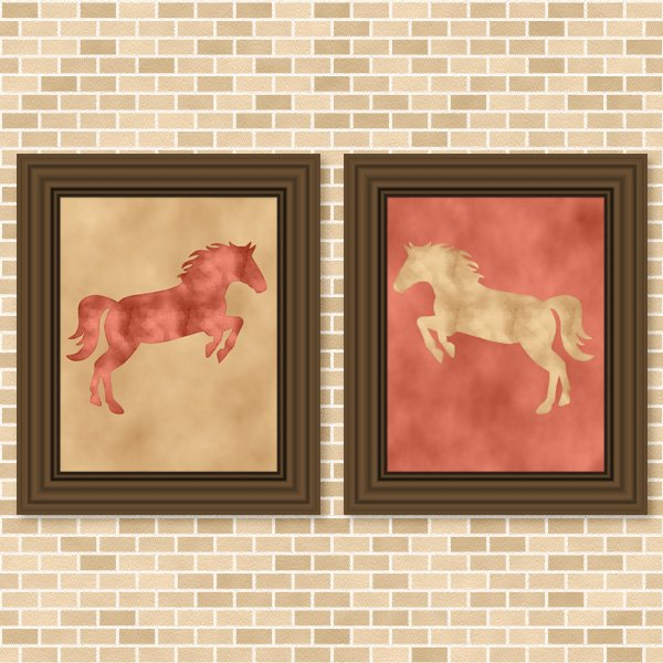 Coral & Golden Beige Horse Set - Printable Wall Art