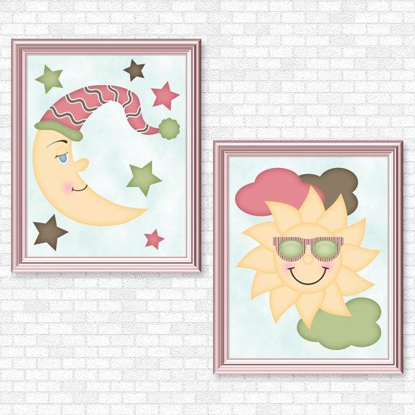 Sun & Moon (Girl Set) Printable Wall Art
