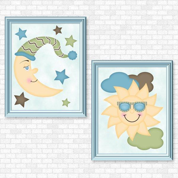 Sun & Moon (Boy Set) Printable Wall Art