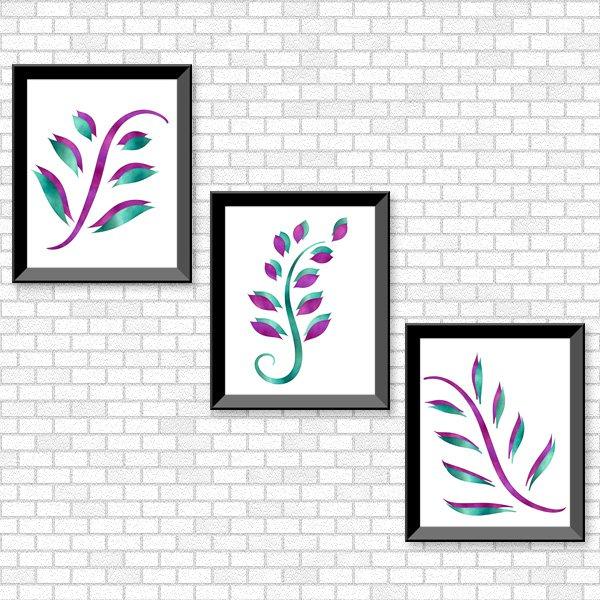 Purple & Turquoise Foliage Set - Printable Wall Art