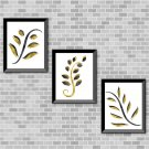 Black & Golden Yellow Foliage Set - Printable wall Art