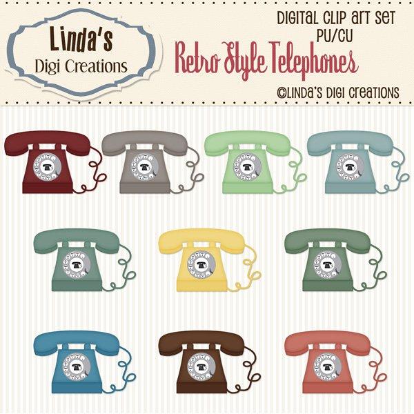 Retro Style Telephones (ClipArt Set)