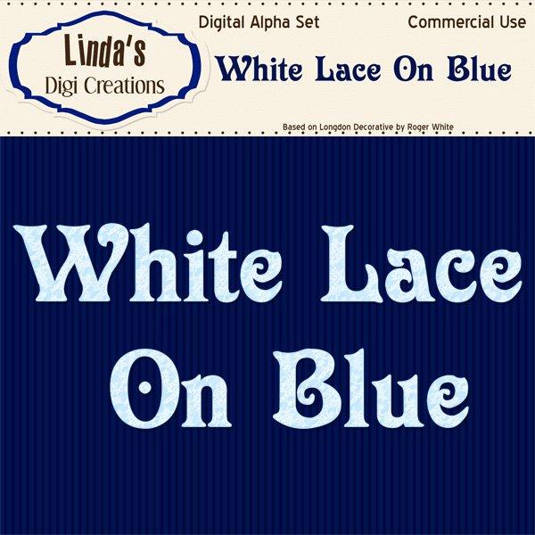 White Lace On Blue Digital Alpha Set