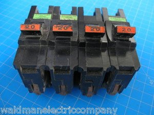 """Lot of 4 FEDERAL PACIFIC Stab-Lok FPE 20 AMP Standard 1"""" size 1 Pole Breakers"""