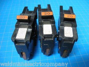 "Lot of 3 FEDERAL PACIFIC FPE Stab-Lok 20 Amp 1"" Wide BREAKER Guaranteed!"
