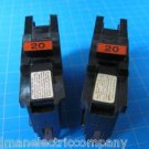 "Lot of 2 FEDERAL PACIFIC FPE Stab-Lok 20 Amp 1"" Wide BREAKER Guaranteed!"