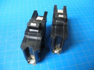 Lot of 2 Federal Pacific or AMERICAN Stab-Lok 20 Amp Single Pole Bolt On Breaker
