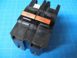 "Used FEDERAL PACIFIC  Stab-Lok FPE 30 Amp 2 Pole 2"" Wide BREAKER"