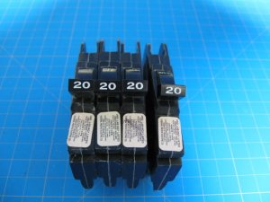 """4 - Federal Pacific or AMERICAN Stab-Lok 20 Amp 1/2"""" thin Single Pole Breakers"""