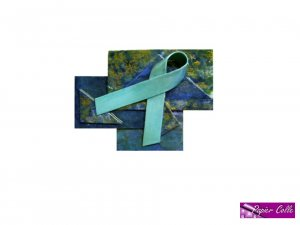Teal Ribbon Brooch