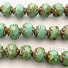 25 5 x 6mm Czech Glass Small Rosebud Beads: Oraque Turquoise - Picasso Full