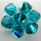 5 6mm Swarovski Crystal Bicones -- 6mm Blue Zircon AB