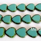 10 15x15mm Czech Glass Window Heart Beads: Oraque Turquoise - Picasso