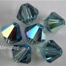 8 4mm Swarovski Crystal Bicones -- Indian Sapphire AB