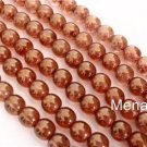 50 6mm Czech Round Beads: Luster - Rose/Gold Topaz