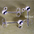 S/Silver Stud Earring Ball Posts and Backs (8 Sets)