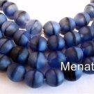 50 6mm Czech Glass Round Beads: Matte - Cobalt/Jet