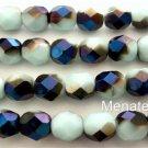 25 6mm Czech Glass Firepolish Beads: Oraque Pale Turquoise - Blue Iris