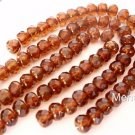 25 4x6 mm Czech Glass Gemstone Donuts: Copper - Dark Topaz